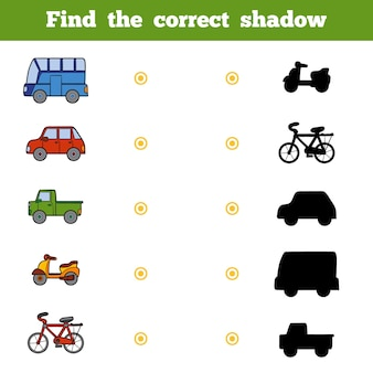 Find the correct shadow, education game for children. set of cartoon transport
