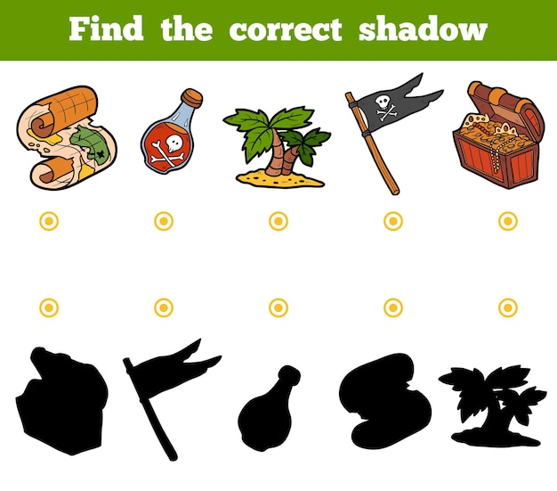 Find the correct shadow, education game for children. set of pirate items