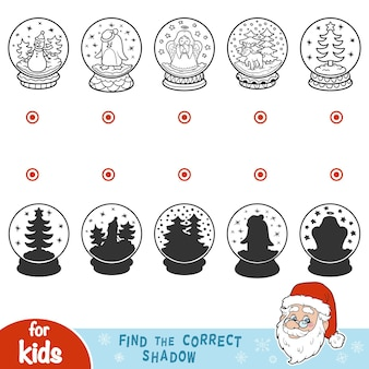 Find the correct shadow, education game for children. snowballs with christmas items