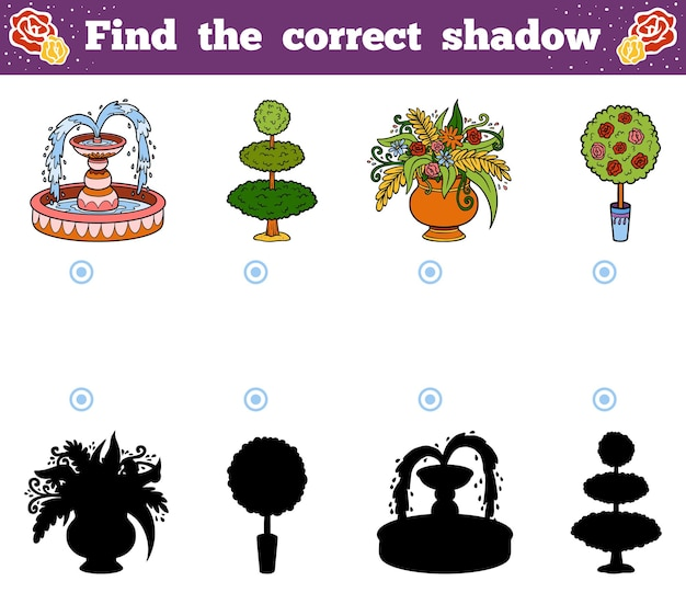 Find the correct shadow, education game for children. vector cartoon garden objects