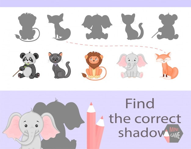 Find the correct shadow, education game for children.