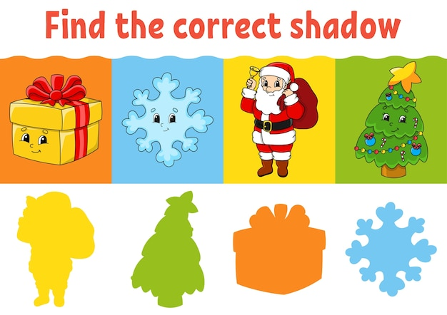 Find the correct shadow. education worksheet. matching game for kids. color activity page.