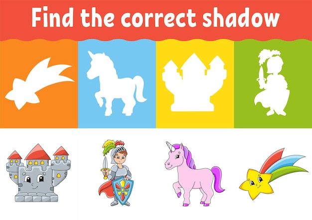 Find the correct shadow education worksheet matching game for kids fairytale theme