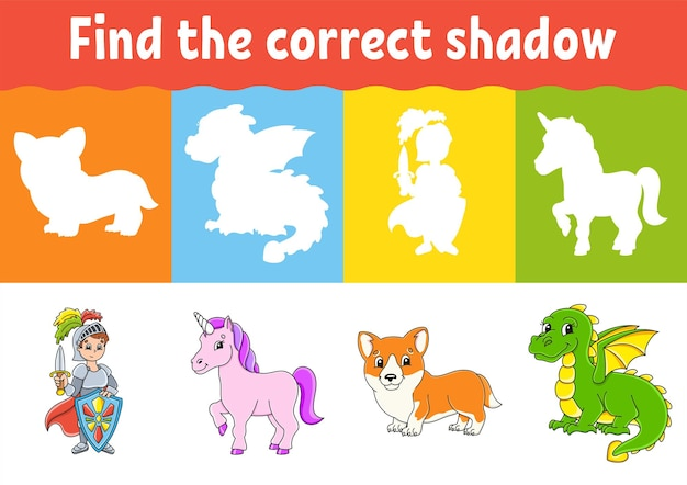 Find the correct shadow education worksheet matching game for kids