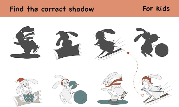 Find the correct shadow. educational game for children. children activity with cute rabbit ice skating