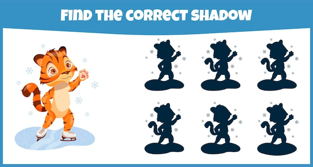 Find the correct shadow educational matching game for children with cute tiger