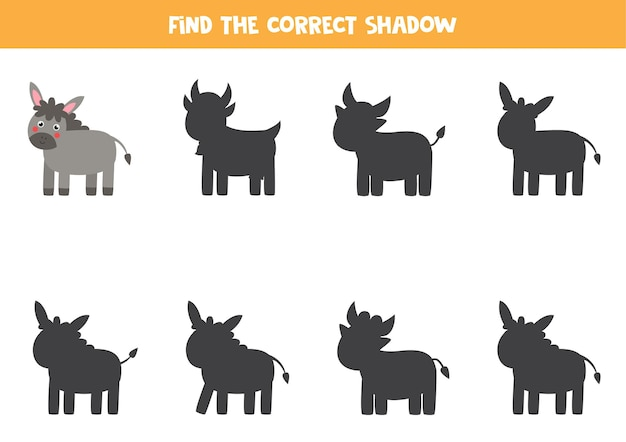 Find the correct shadow of farm donkey. educational logical game for kids.