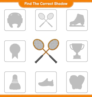 Find the correct shadow. find and match the correct shadow of badminton rackets
