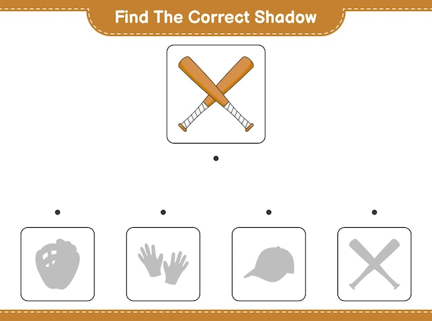 Find the correct shadow. find and match the correct shadow of baseball bat. educational children game, printable worksheet