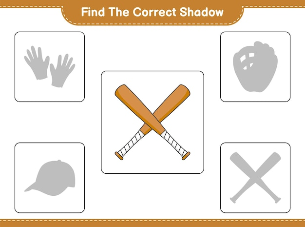 Find the correct shadow. find and match the correct shadow of baseball bat