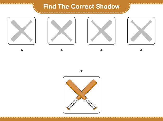Find the correct shadow find and match the correct shadow of baseball bat