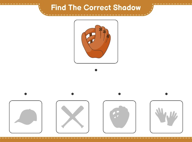 Find the correct shadow. find and match the correct shadow of baseball glove. educational children game, printable worksheet