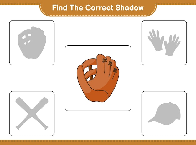 Find the correct shadow. find and match the correct shadow of baseball glove