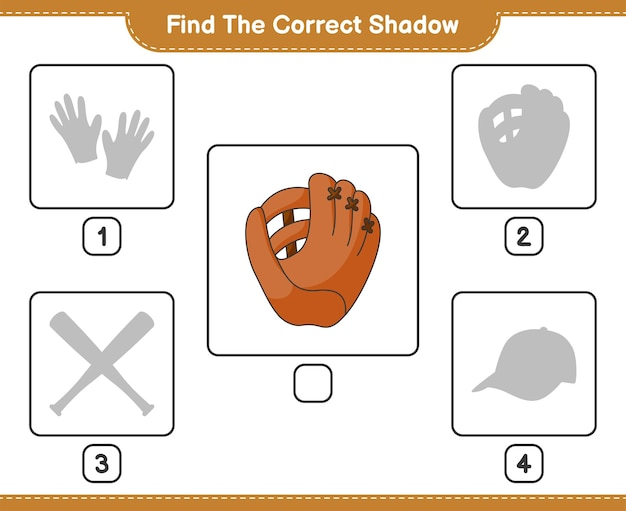 Find the correct shadow find and match the correct shadow of baseball glove