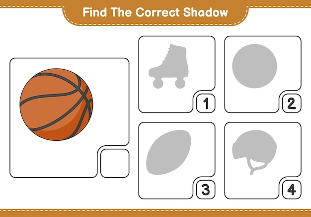 Find the correct shadow find and match the correct shadow of basketball educational children game