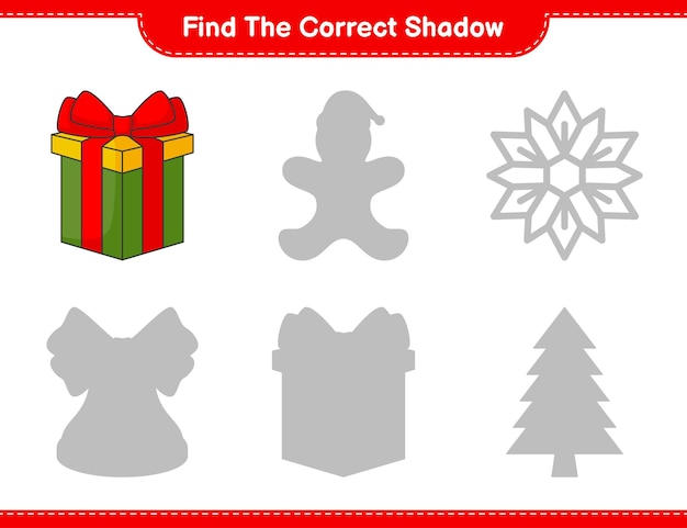 Find the correct shadow find and match the correct shadow of box gift educational children game