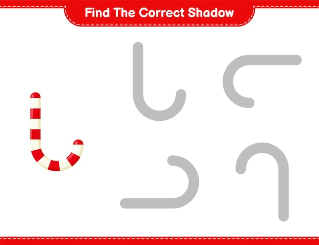 Find the correct shadow. find and match the correct shadow of candy canes. educational children game