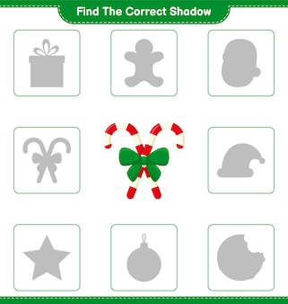 Find the correct shadow. find and match the correct shadow of candy canes with ribbon. educational children game