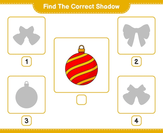 Find the correct shadow find and match the correct shadow of christmas ball