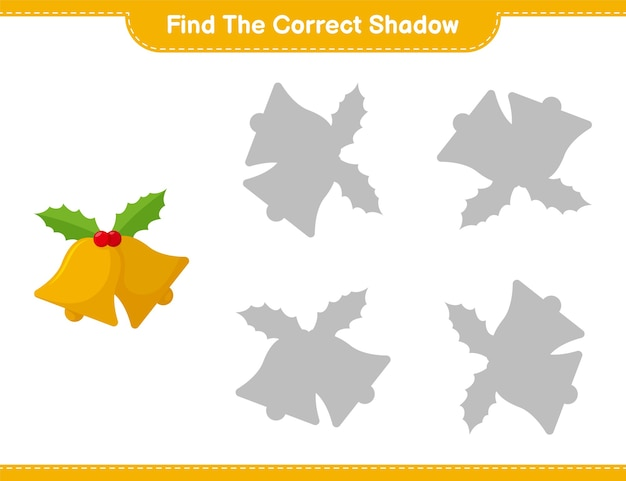 Find the correct shadow. find and match the correct shadow of christmas bell. educational children game