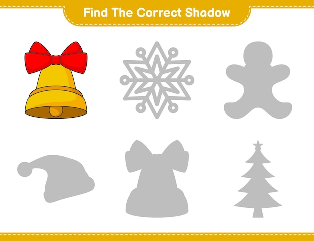 Find the correct shadow find and match the correct shadow of christmas bell