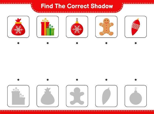 Find the correct shadow. find and match the correct shadow of christmas decoration.