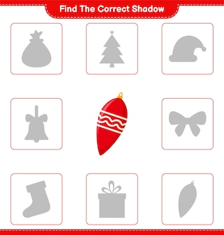 Find the correct shadow. find and match the correct shadow of christmas lights. educational children game