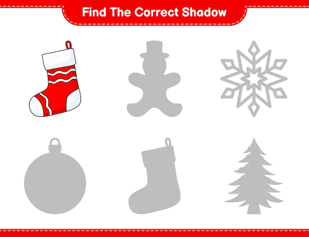 Find the correct shadow find and match the correct shadow of christmas sock