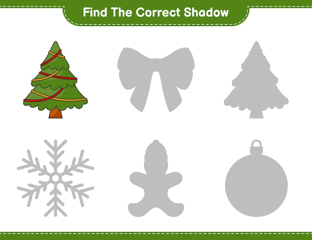 Find the correct shadow find and match the correct shadow of christmas tree