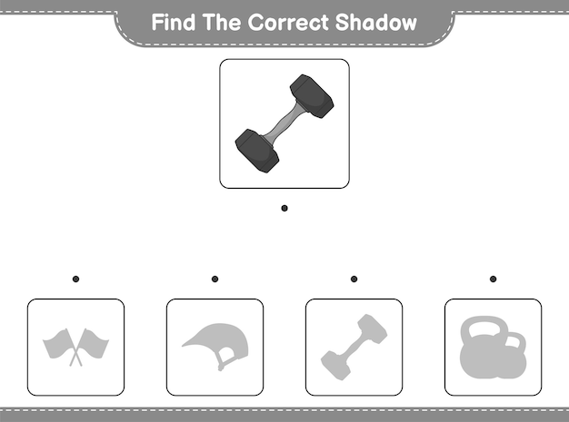 Find the correct shadow. find and match the correct shadow of dumbbell. educational children game, printable worksheet