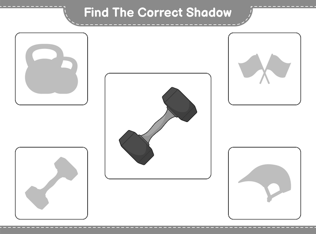 Find the correct shadow. find and match the correct shadow of dumbbell. educational children game