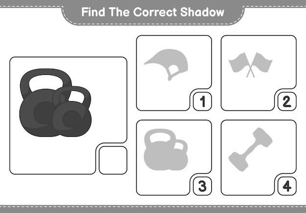 Find the correct shadow find and match the correct shadow of dumbbell educational children game