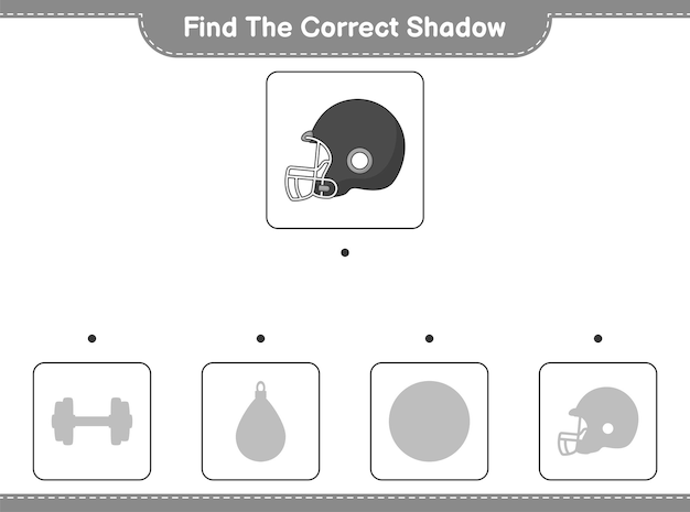 Find the correct shadow. find and match the correct shadow of football helmet. educational children game, printable worksheet