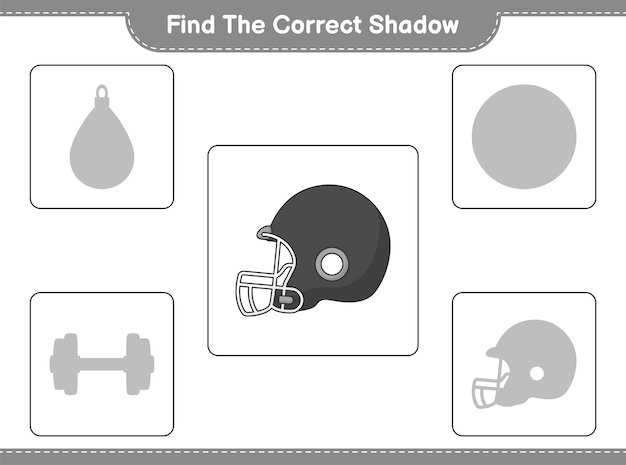 Find the correct shadow. find and match the correct shadow of football helmet