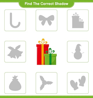 Find the correct shadow. find and match the correct shadow of gift boxes. educational children game