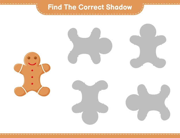 Find the correct shadow. find and match the correct shadow of gingerbread man. educational children game