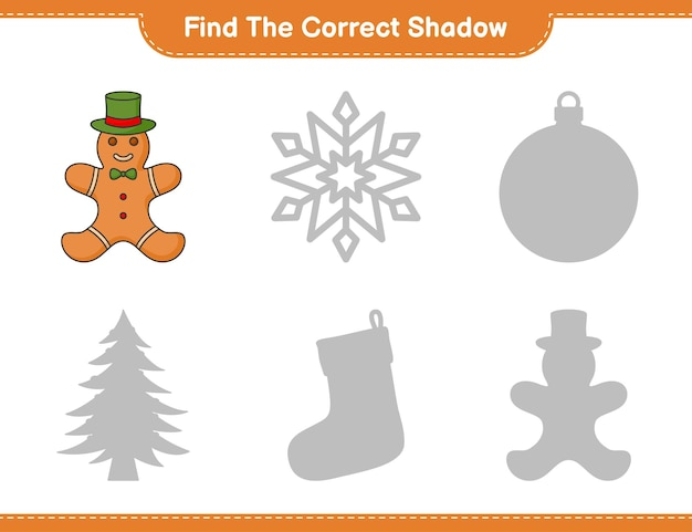 Find the correct shadow find and match the correct shadow of gingerbread man