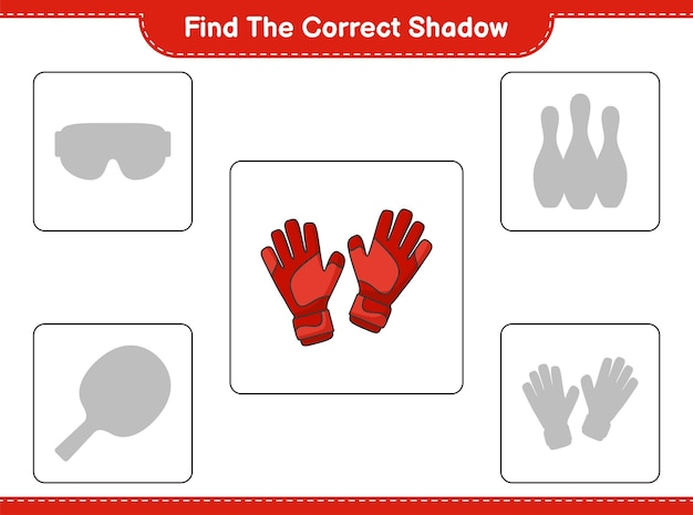 Find the correct shadow. find and match the correct shadow of goalkeeper gloves