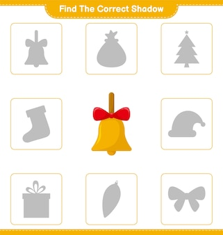 Find the correct shadow. find and match the correct shadow of golden christmas bells. educational children game