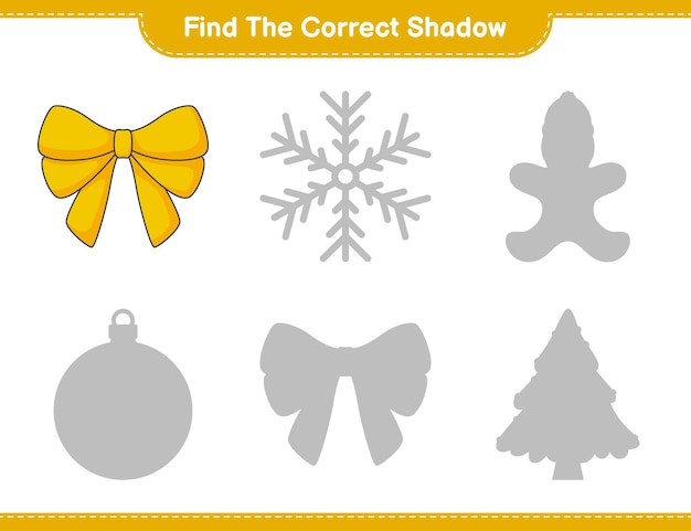 Find the correct shadow find and match the correct shadow of ribbon educational children game