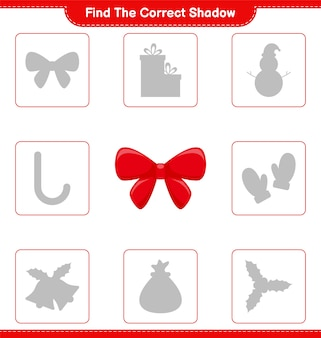 Find the correct shadow. find and match the correct shadow of ribbons. educational children game