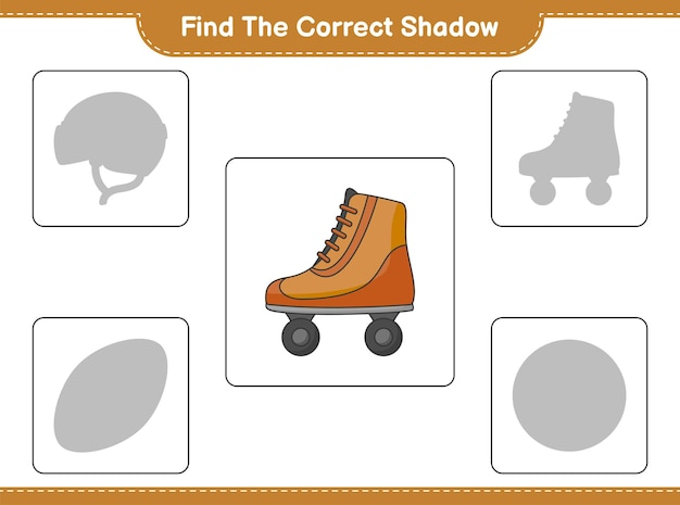Find the correct shadow. find and match the correct shadow of roller skate