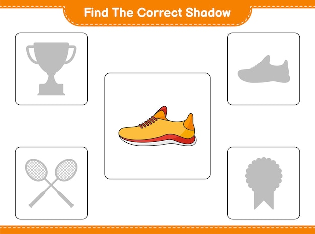 Find the correct shadow. find and match the correct shadow of running shoes