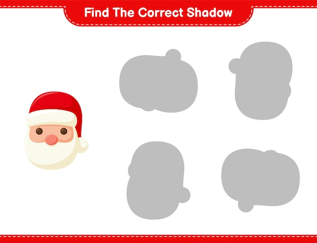 Find the correct shadow. find and match the correct shadow of santa claus. educational children game