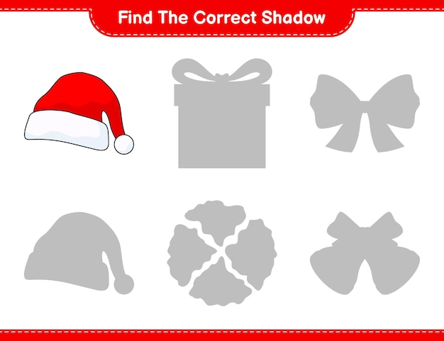 Find the correct shadow find and match the correct shadow of santa hat educational children game