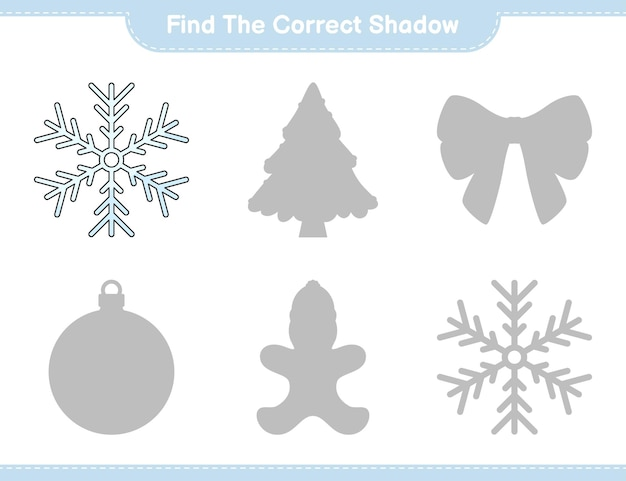 Find the correct shadow find and match the correct shadow of snowflake educational children game