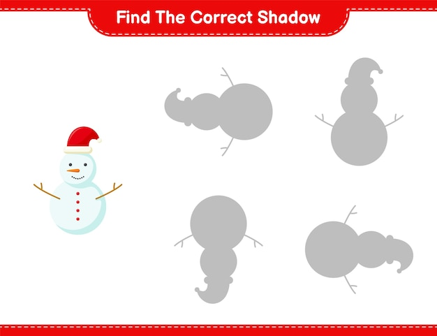 Find the correct shadow. find and match the correct shadow of snowman. educational children game