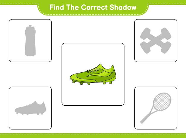 Find the correct shadow. find and match the correct shadow of soccer shoes