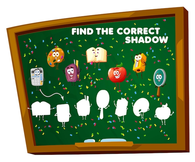 Find the correct shadow game worksheet. school education blackboard with education characters. matching task with cartoon vector textbook, apple, sharpener and magnifier silhouettes, kids riddle maze