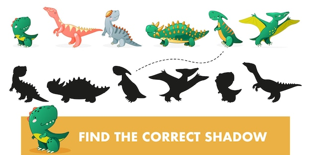 Find the correct shadow kids educational game with dino cute dinosaur cartoon illustration